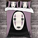 Spirited Away Frantic Faceless Spirit Bedding Duvet Cover 3 Piece Set, Soft Microfiber Quilt, 1 Quilt and 2 Pillow Shams A298