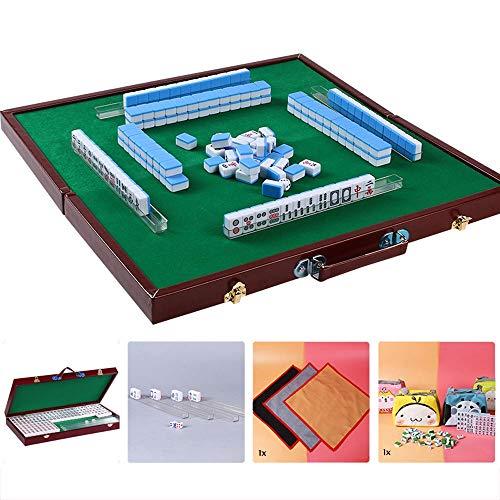 Puzzle Mini Mahjong Chino Tradicional versión del Juego Set portátil 144 Azulejos acrílico Material majong Viajes de Familia Tiempo Libre (Azul Cielo)