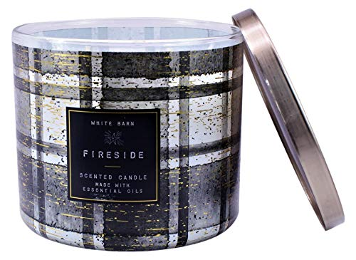 White Barn Fireside Scented Candle (Smoked Cedar, Clove Bud, Warm Embers) Made W Essential Oils - 14.5 oz Black and White Plaid 3 Wick
