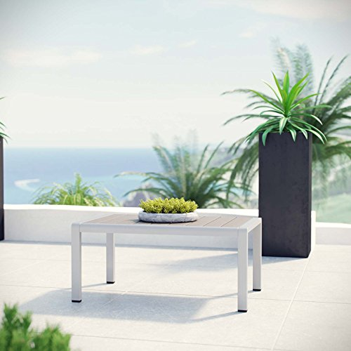 Modway Shore Aluminum Outdoor Patio Coffee Table in Silver Gray