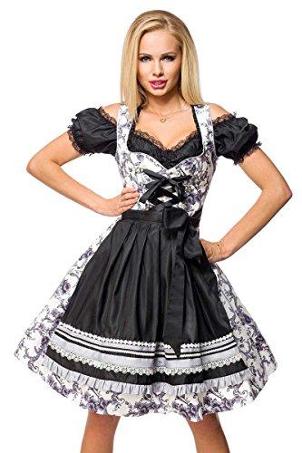 Dirndline Dirndl Mittellanges Kleid schwarz/lila/weiß XS