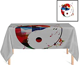 SATVSHOP Rectangle Tablecloth,/60x120 Rectangular,Yin Yang Diagram with Colorful Halve with Butterflies and Musical Notes Good in Bad Theme for Wedding/Banquet/Restaurant.