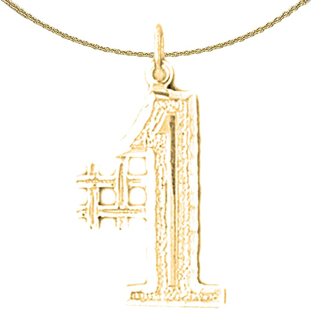 Jewels Obsession 14K Yellow OFFicial store Gold Special Campaign #1 Number with Pendant 18