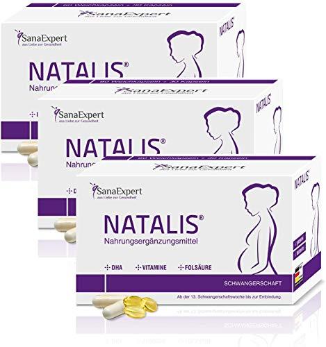 PACK 3 | SanaExpert Natalis | INTEGRAZIONE PER LA GRAVIDANZA | con acido folico, ferro, DHA, vitamine e sostanze nutritive essenziali (270 capsule). Ingredienti 100% naturali.