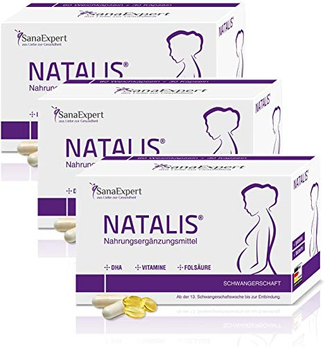 SanaExpert Natalis for Pregnancy, Premium prenatal multivitamin Supplement, folic Acid, Vitamins, and DHA, 90 Capsules (3)