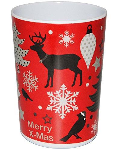 alles-meine.de GmbH 1 Stück _ 3 in 1 - Trinkbecher / Zahnputzbecher / Malbecher - Becher -  Weihnachten - Schneeflocken - ROT  - 350 ml - Trinkglas aus Melamin - Kunststoff Pla..