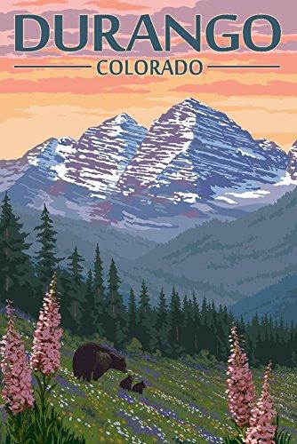 Durango, Colorado – Ours et fleurs de printemps, Papier, multicolore, 12 x 18 Art Print