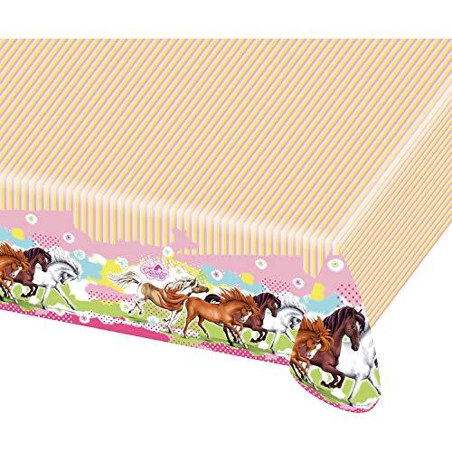 amscan 414102 552345 - Tischdecke Pferde, 1 Stück, Größe 120 x 180 cm, rosa-pink-gelb mit mehrfarbigen Pferdemotiven, Charming Horses, Kunststoff, wasserabweisend, Geburtstag, Kinderparty, Mottoparty