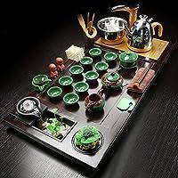 茶道具 中国茶トレイ、中国茶テーブル ティートレイ木製水貯蔵ティーセット、純水排水ティートレイの完全なセット、純木ティートレイ、家庭やオフィスの使用 (Color : J)