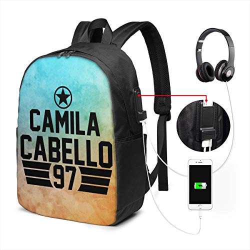 JohnBHaws Camila Cabello Logo Laptop Backpack,Extra Large Backpacks with USB Charging Port,Travel Computer Backpack for,Water Resistant College School Bookbag Fits 17 Inch Laptops and Notebooks,Black