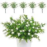 TSHAOUN 5 piezas Flores Artificiales Flor Falsas,Arbustos Verdes Resistentes a Los...