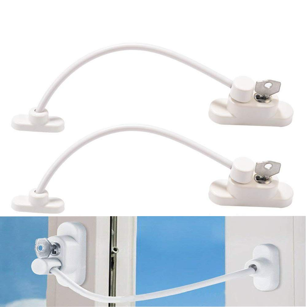2pcs Baby Safety Locks, Childproof Cable Restrictor for Window & Sliding Door, Baby/Child Security Lock and Key Device