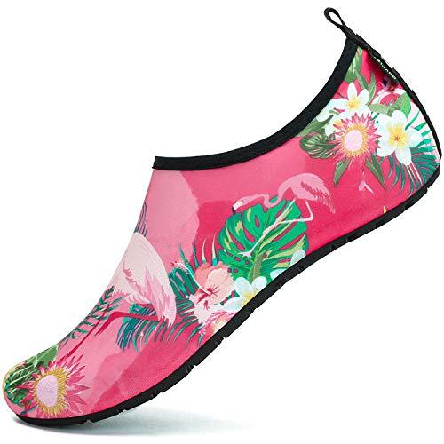 SAGUARO Badeschuhe Wasserschuhe Neoprenschuhe Damen Herren Schwimmschuhe Frauen Strandschuhe Surfschuhe Aquaschuhe Barfuß Schuhe, Blume Pink 36/37