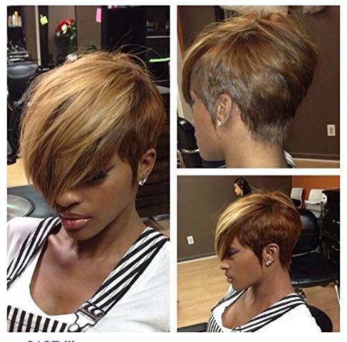 Nicelatus Short Pixie Cut Wigs with Mixed Blonde Brown Bangs Synthetic Mixed Brown Wigs for Black Women Short Pixie Wigs for Women
