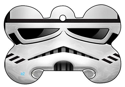 Star Wars Trooper C3PO R2D2 Droid Boba Fett Logo Dog Pet Cat ID Tag Bone Shape Image Photo Personalized with Key Ring (STORM TROOPER)