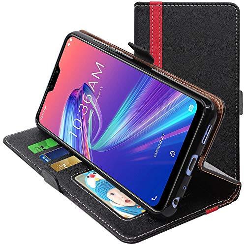 ebestStar - kompatibel mit Asus Zenfone Max Pro M2 Hülle ZB631KL Kunstleder Wallet Hülle Handyhülle [PU Leder], Kartenfächern, Standfunktion, Schwarz/Rot [ZB631KL: 157.9 x 75.5 x 8.5mm, 6.26'']