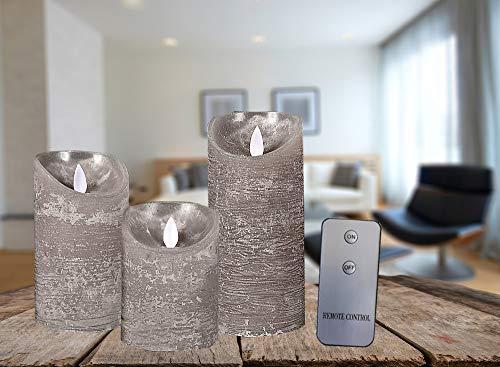 Coen Bakker 3er Set Kerze LED Echtwachskerze mit Fernbedienung Wachskerze viele Farben 10 cm + 12,5 cm + 15 cm Kerze Ø 7,5 cm flackender Docht Kerzen, Farbe:Grau