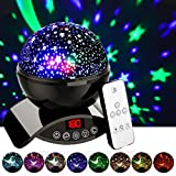 Elecstars Night Lights, Rechargeable Star Projector with Remote Control and Timer Auto Off Design, Rotating Projection Lighting Lamp, Room Decor. (Black)