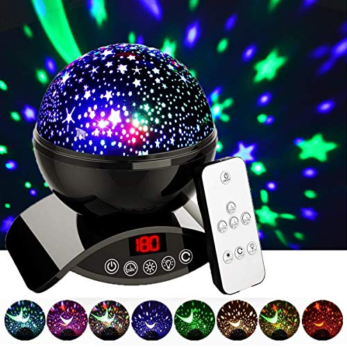 Amouhom Night Light Baby Star Projector, 8 Color Rotation Lamp with Timer Remote and Chargeable,...