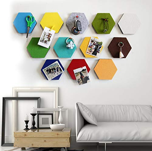 BANNAB 1 Pcs Felt Hexagon Board Tiles, Create Your Very Own Wall Bulletin Board Anywhere in Your Home to Create a Handy Place to Keep Notes Photos