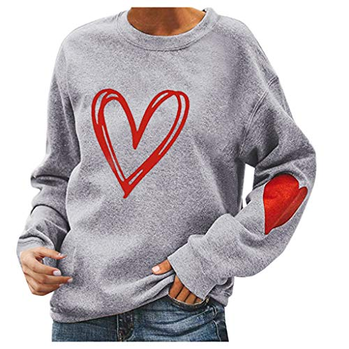 BOIYI Women's Round Neck Long Sleeve Tops T-Shirt Heart Printed Casual Loose Pullover Sweater Blouse Classic Sports Jumper(Grey,XL)