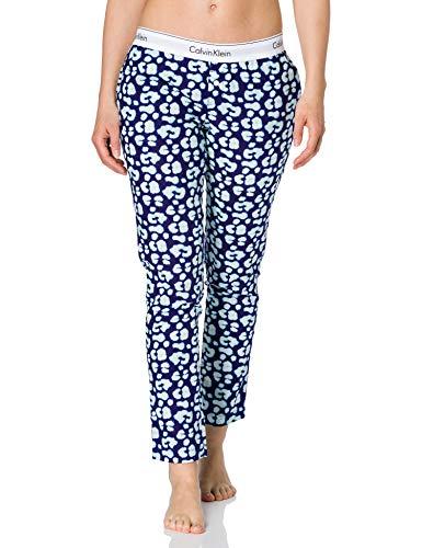 Calvin Klein Sleep Pant Pantaln de Pijama, Leopardo Gecko_Purple Fuss, S para Mujer