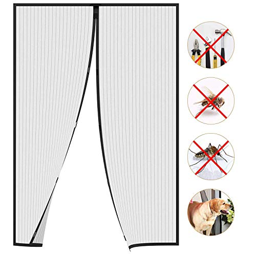 HXCD Magnetic Screen Door Mesh Screen Door Anti Mosquito Bugs Easy Install for Keep Bugs Fly out - Black 180x260cm(71x102inch)