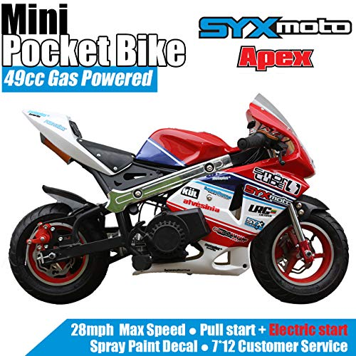 SYX MOTO Apex Electric Start 49cc 2-Stroke Gas Power Kids Mini Pocket Bike, Off-Roading Rocket Motorcycle,Red/Blue