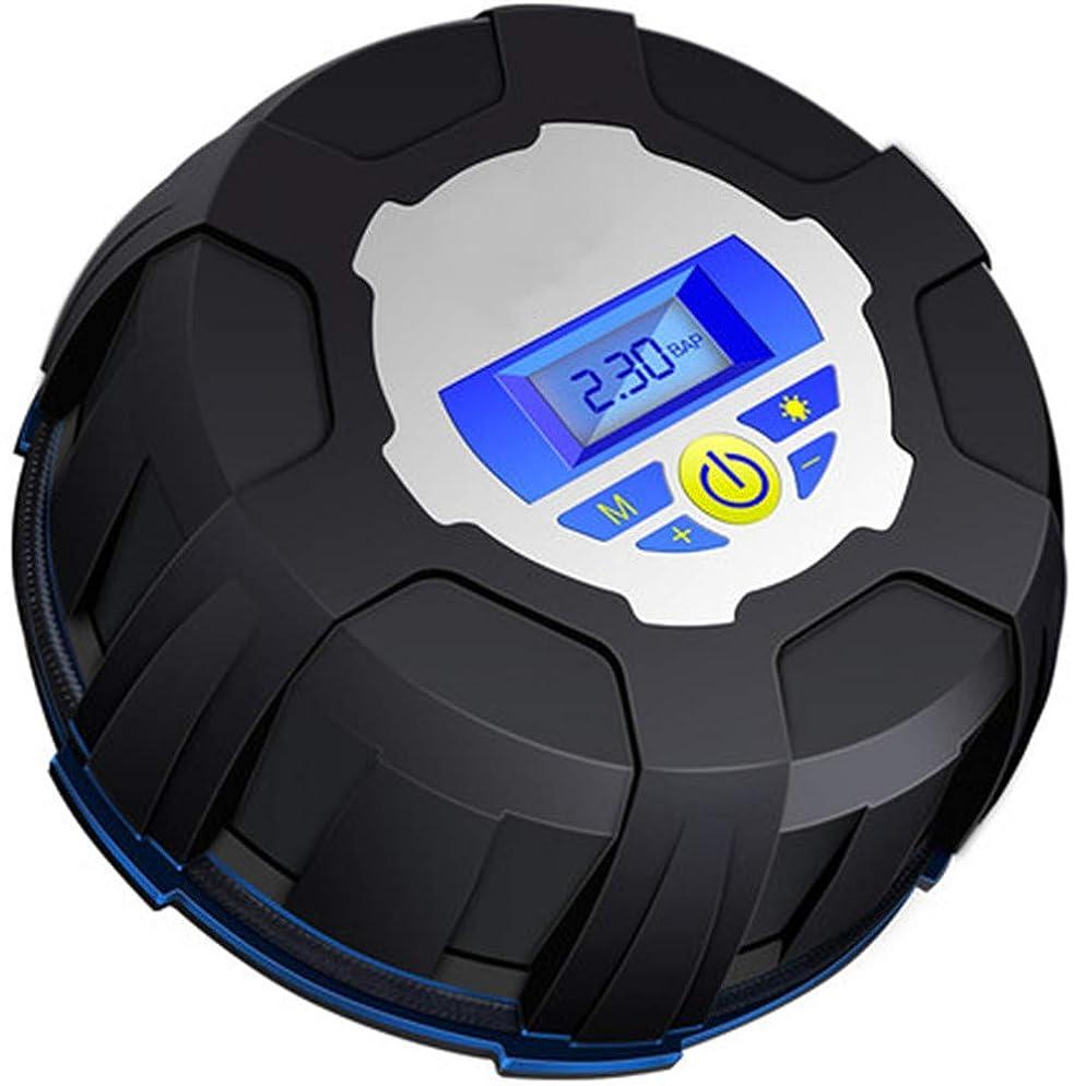 ベリクッション厚いポータブルカーエアーポンプ、12Vプリセットタイヤ空気圧タイヤポンプ、デジタルルミナスタイヤ空気圧ゲージ