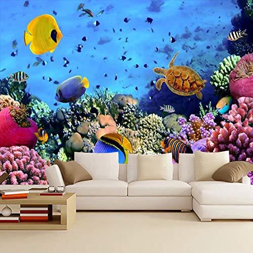 Leekkoka Muurschildering Onderwater Wereld Behang Moedertaal en Kind Winkel Behang Oceaan Thema Aquarium Muur Kinderkamer Aangepaste muurschildering 350cm*250cm(H)