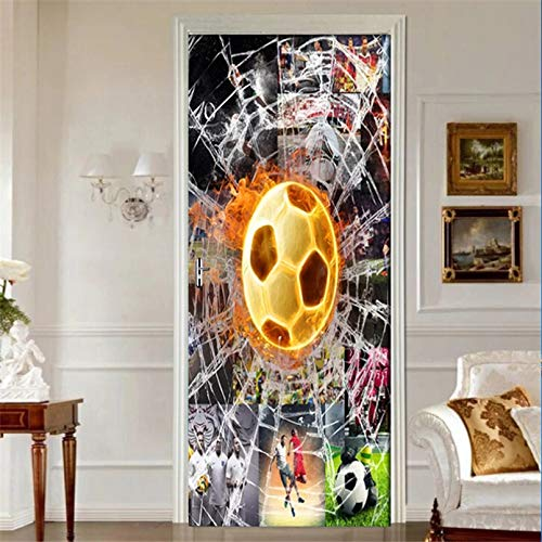 SXINYF 3D-Türaufkleber PVC Adhesive Wallpaper Poster Print Weltmeisterschaft Fußball Home Decor Wasserdichter Wandtattoo Aufkleber für Wohnzimmer-90x200cm