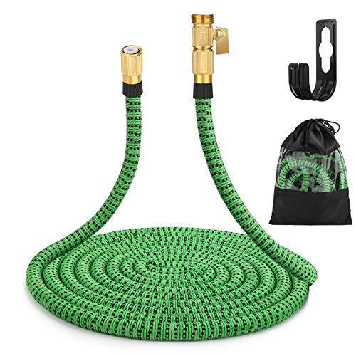 Gobetter Garden Hose, 100 ft Expandable Water Hose with 3/4' Standard Solid Brass Connectors, Pocket Hose Lightweight/Flexible/Leak Proof/Durable