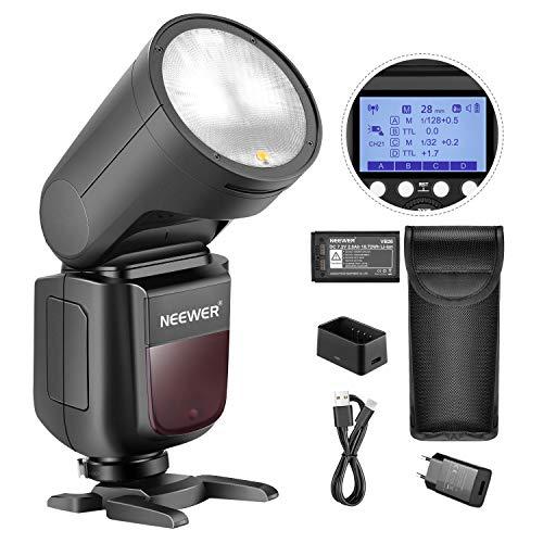Neewer V1-S Flash Speedlight para Sony DSLRs Cámara 76Ws 2,4G TTL Cabeza Redonda 1,5s Tiempo Reciclaje Rápido 7,2V/2600mAh Batería Litio 480 Disparos a Plena Potencia Lámpara Modelado LED 10 Niveles