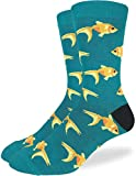 Good Luck Sock Men's Goldfish Crew Socks - Green, Adult Shoe Size 7-12