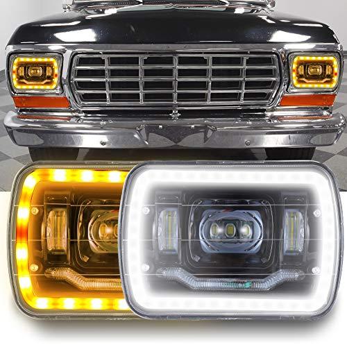 5x7 Inch Led Headlights 7x6 Led Sealed Beam Headlamp with High Low Beam DRL Amber Turn Signal Light and Halo Ring Angel Eyes Led Headlight for Jeep Wrangler YJ Cherokee XJ 2 Pcs