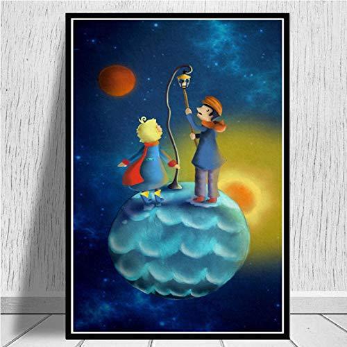 linbindeshoop Pintura en Lienzo, Arte de Pared Impreso, decoración del hogar, imágenes de la película del Principito, póster de Estilo nórdico, habitación para niños(LR-113) 40x60cm No Frame