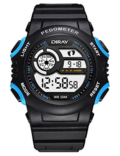 DIRAY Unisex Multifunktionsuhr Elektronische Uhr Jungen Mädchen Sportuhr Datum Alarm Schrittzähler Stoppuhr Outdoor Mode Digitaluhren Jungendliche Armbanduhr - Schwarz 1