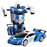 Transformando el automóvil para los niños de 5 a 12 años, el juguete del automóvil de robot con la función de deformación de un solo botón y las luces LED RC Cars Toy 2 en 1 Electric RC Racing Car