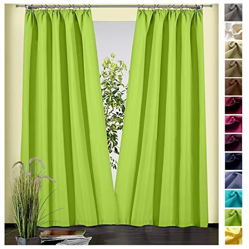 heimtexland ® Dekoschal Baumwolle Uni Blickdicht Vorhang Kräuselband Gardine Kiwi Grün HxB 180x135 Typ625