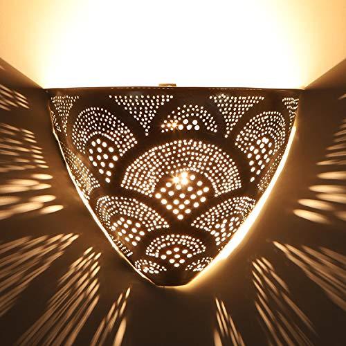 Casa Moro Orientalische Wandlampe Kenan Silber 20x26 cm (Höhe/Breite)   Echt versilberte marokkanische Wandleuchte aus Metall   Kunsthandwerk aus Marrakesch   Schöne orientalische Dekoration   AWL930