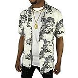 アロハシャツ ボタンシャツ 半袖 大きい メンズ レディース 春夏 カジュアル 狛犬 こまいぬ 白 ホワイト グレー sb76 (5XLサイズ)
