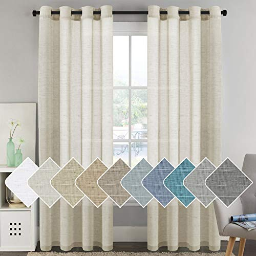 H.VERSAILTEX 52-inch by 96-inch Set of 2 Made of Rich Linen Poly Mixed Sheer Drapery Curtain Panels with Nickel Grommets,Natural Pattern