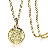 Trendsmax Gold Plated A Round Medallion Coin Letter Initial Pendant Necklace for Women A-Z Name Jewelry Stainless Steel 18inch Figaro Choker Chain Adjustable Personaziled