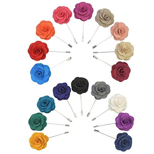 Soleebee YM008 Ansteckblumen Gemischt zufällig Herren Handgefertigt Revers Pin Blume Set im Knopfloch Schläger Revers Krawatte Brosche Kamelie Boutonniere für Anzug (zufällig 15 Stück)