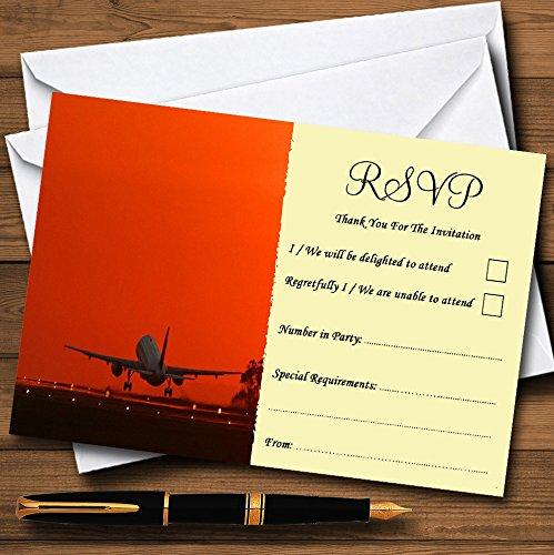 Vliegtuig opstijgen in zonsondergang gepersonaliseerde RSVP kaarten 80 RSVP Cards