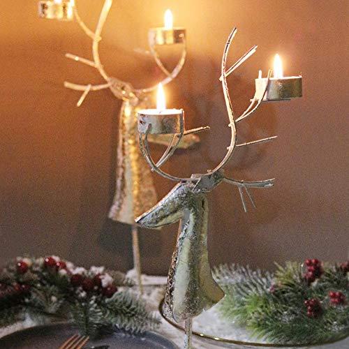 per Candelabros Decorativos Navidad de Alce Portavelas Candelabros de Metal Vintaje Color Dorado Portavelas Navideños