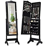 Giantex Jewelry Box Armoire with Mirror, Standing Jewelry Cabinet, 29 Necklace Holder Hooks Ring Earring Makeup Display Storage Organizer Gift Armoires for Girls Women Jewelry Cabinets, Black