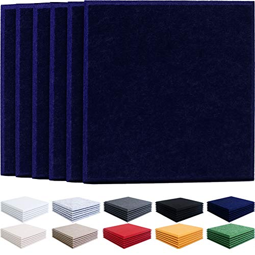 JARDEON Sound Proof padding Large Acoustic Panels Navy Blue Sound Absorber Decoration Wall Panels, Beveled Edge, 16'' X 16'' X 04'', 6 Pack