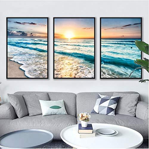 EBONP 3 Piezas Pintura Lona Tríptico Vista al mar Combinación 3 Piezas Pinturas Decorativas Arte de la Pared Imprimir Imagen Lienzo Pintura Cartel para Sala de Estar Sin Marco-(20x28x3) Inch