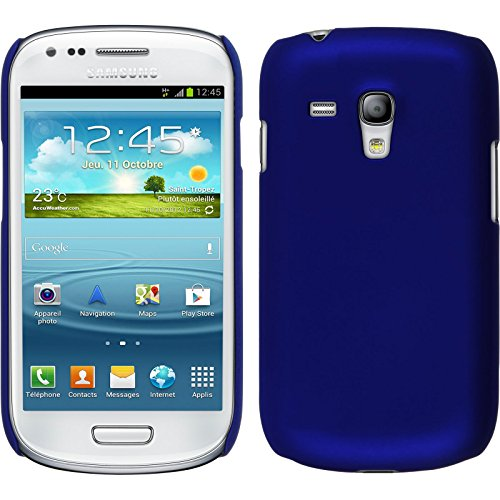 PhoneNatic Custodia Rigida Compatibile con Samsung Galaxy S3 Mini - gommata Blu - Cover Cover
